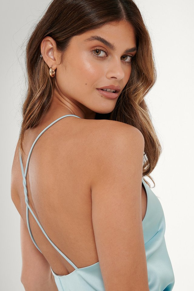 Ice Blue Open Back Satin Singlet