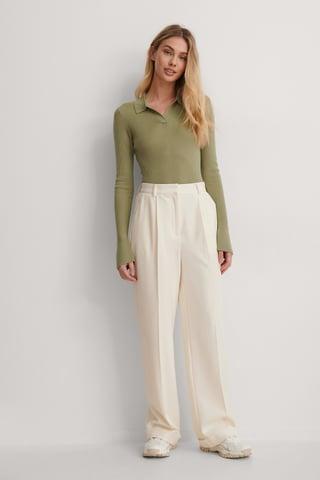 Cream Pleat Suit Pants