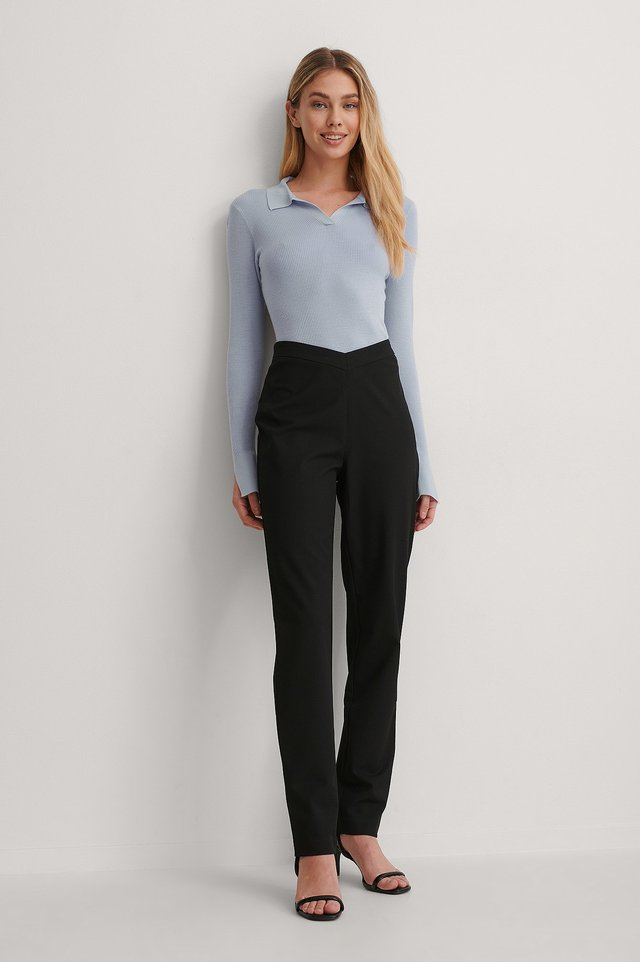 Black V-shaped Waist Straight Pants