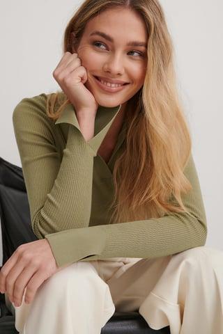 Khaki Wool Collar Knitted Sweater