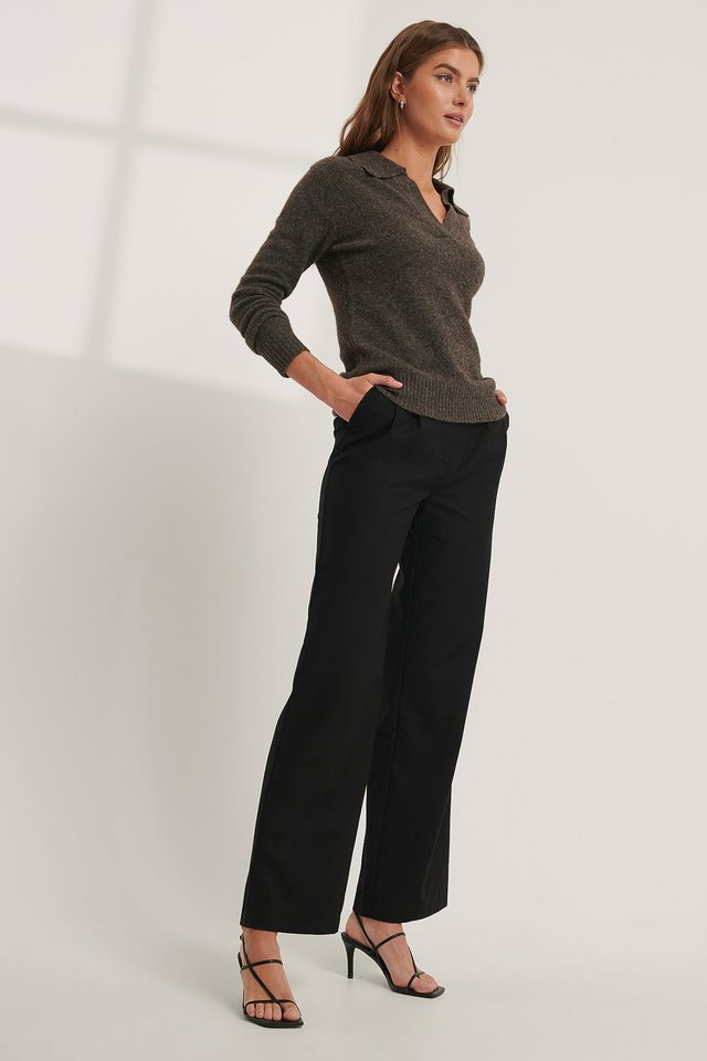 Pleat Detail Suit Pants Black
