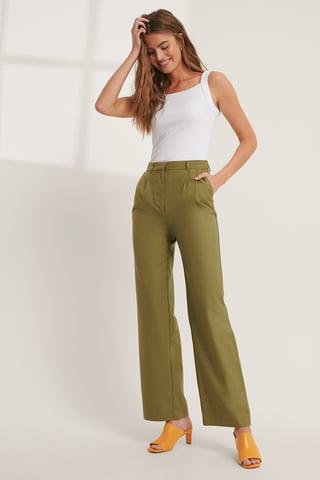 Olive Green Pleat Detail Suit Pants