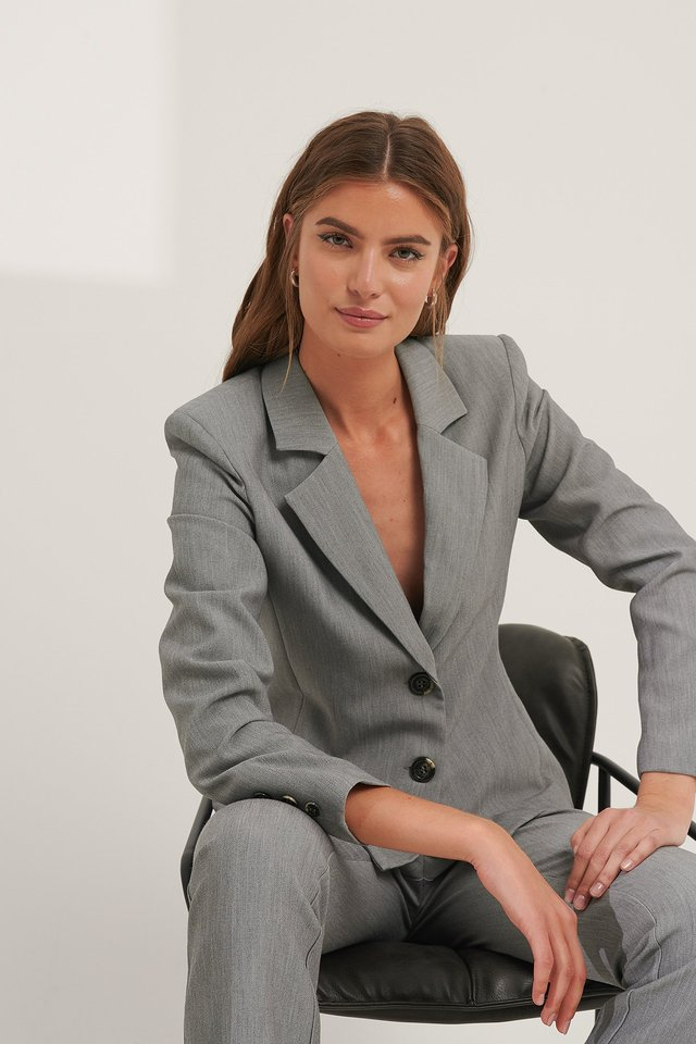 Grey Shoulder Padded Blazer