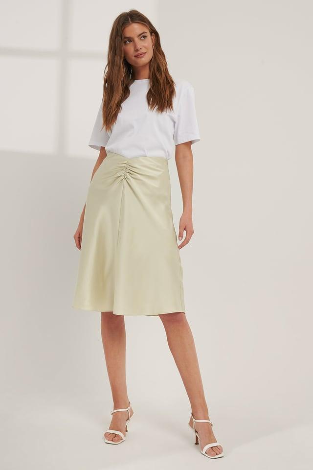 Frosty Mint V-shaped Satin Skirt