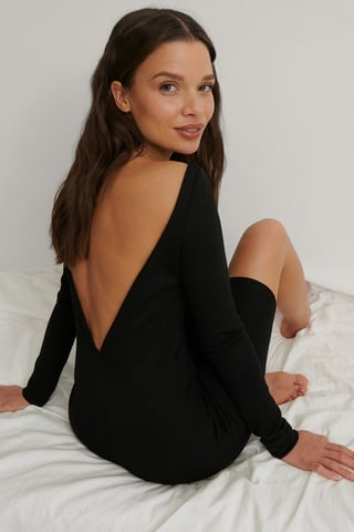 Black Deep Back Mini Dress