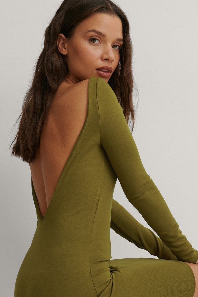 Dark Green Deep Back Mini Dress