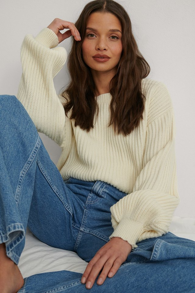 White Recycled Knitted Oversized Sweater