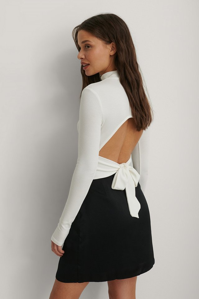 White Long Sleeve Tie Back Top