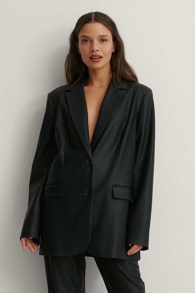 Black Oversized PU Blazer