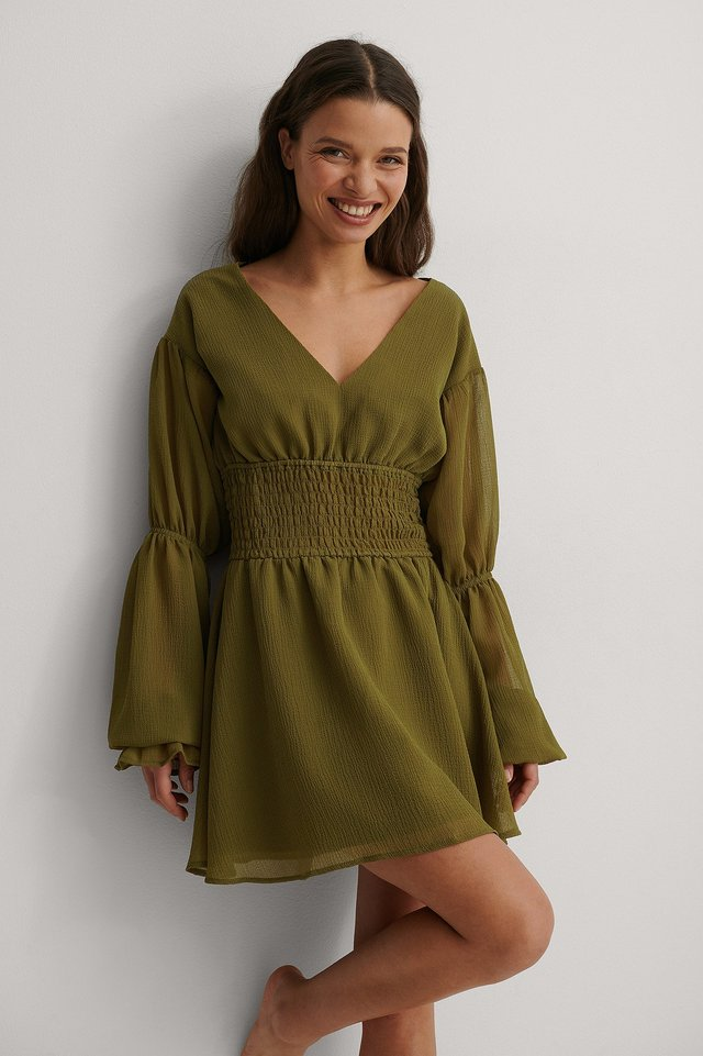 Dark Green Recycled Smocked Waist Mini Dress