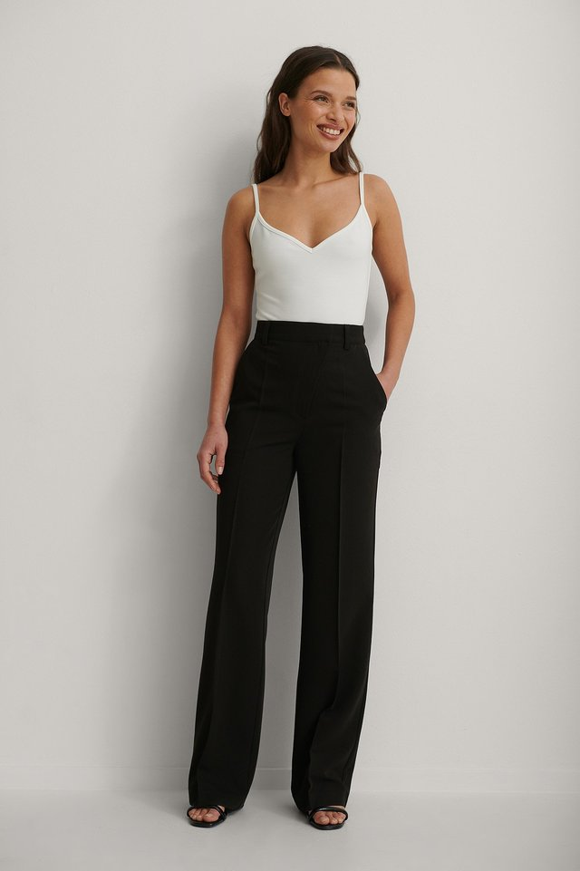 Black Straight Leg Suit Pants