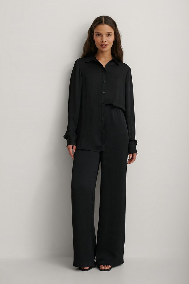 Black Recycled Structured Wide Leg Pants