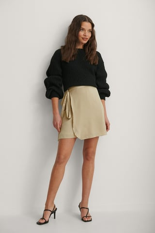 Beige Recycled Tie Waist Satin Skirt