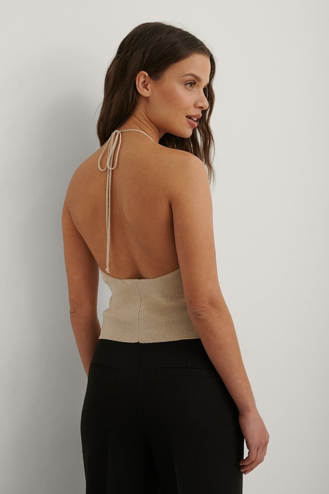 Beige Organic Deep Back Top