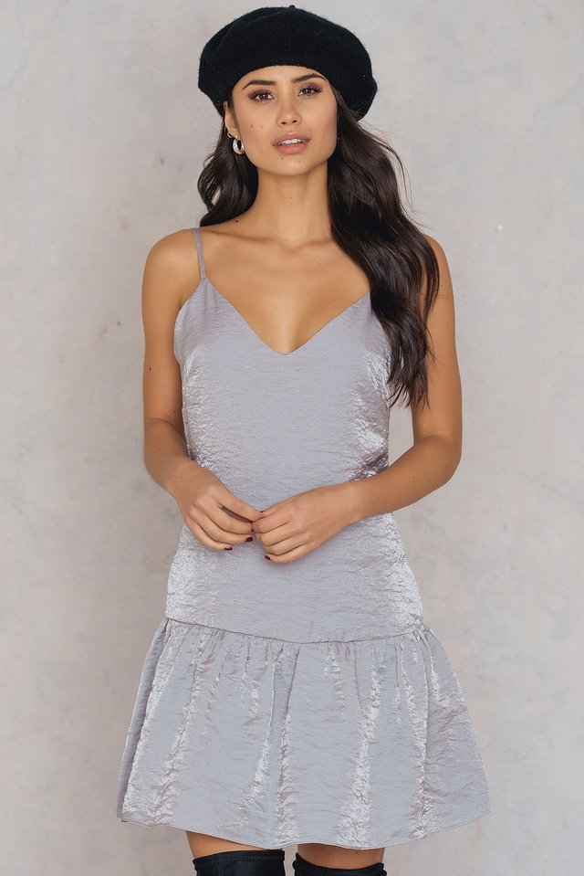 Shimmer Frill Dress Silver