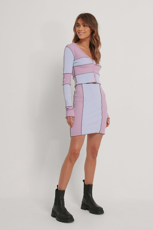 Dusty Pink Colour Blocked Skirt