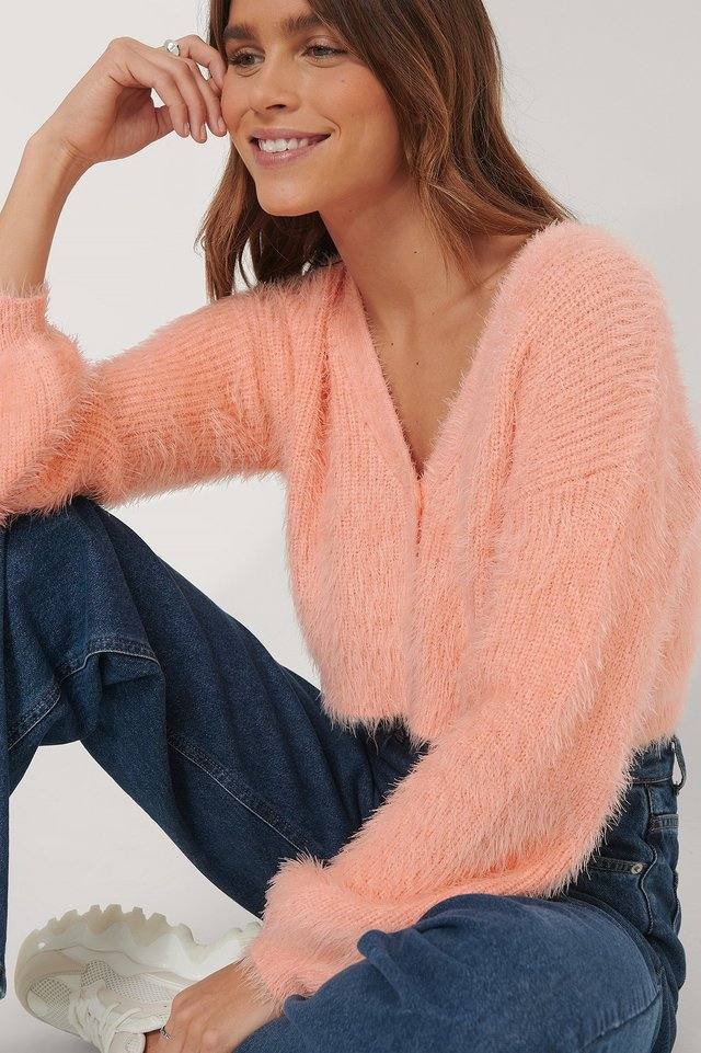 Balloon Sleeve Knitted Cardigan Pink Peach