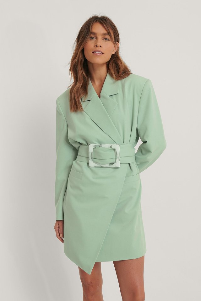 Dusty Green Big Buckle Blazer Dress