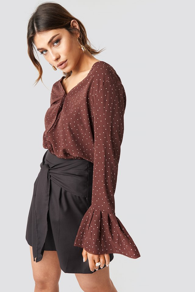 Flared Cuff Dot Blouse Brown