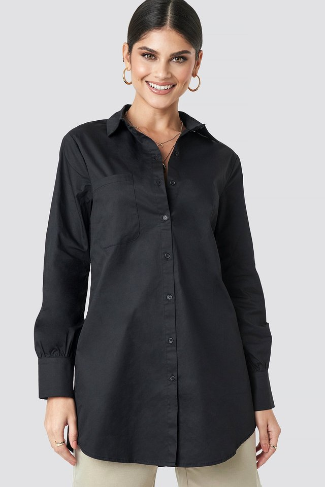Oversized Cotton Shirt Black