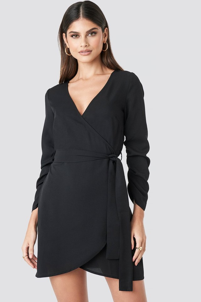 Wrapped Mini Dress Black