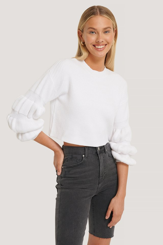 White Cropped Bubble Sleeve Sweater