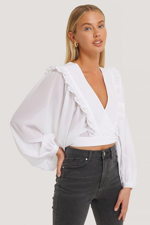 White Deep V-neck Wrap Around Blouse