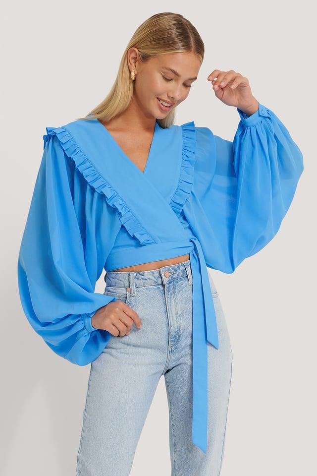 Deep V-neck Wrap Around Blouse Blue