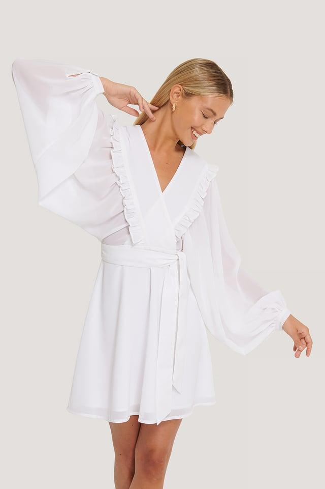 Deep V-neck Wrap Around Mini Dress White