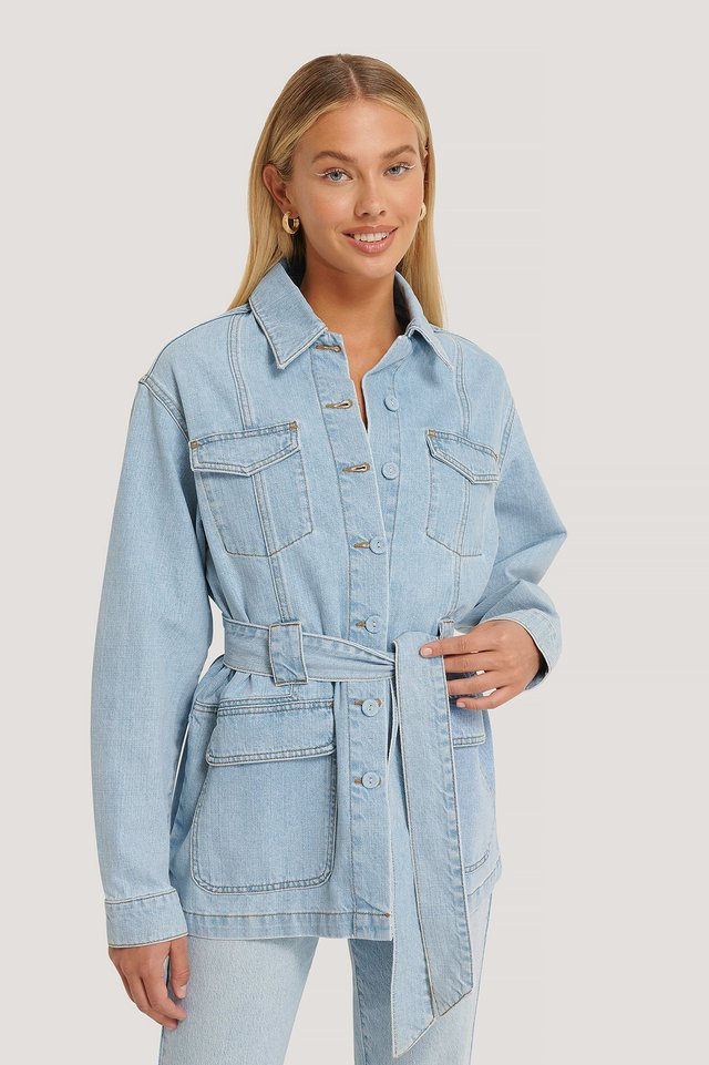 Light Blue Detaillierte Denim-Jeansjacke
