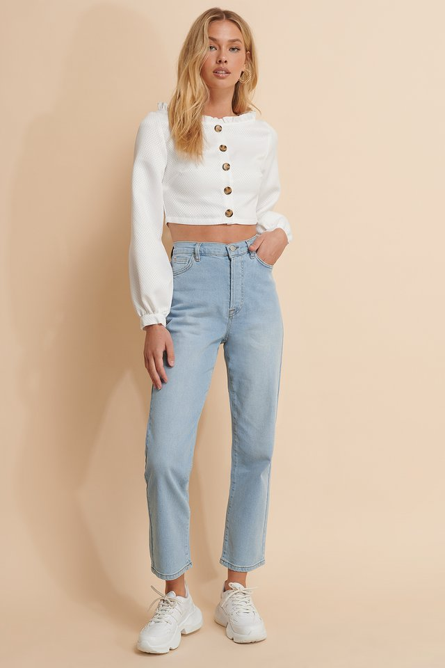 Gerade Jeans Mit Hoher Taille Light Blue