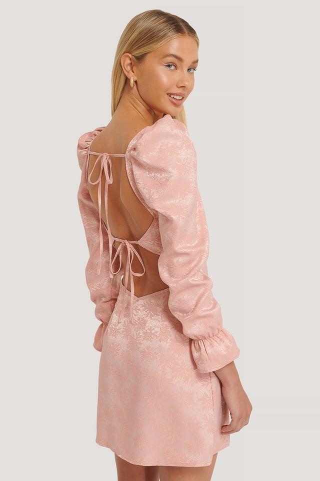 Żakardowa Sukienka Pink