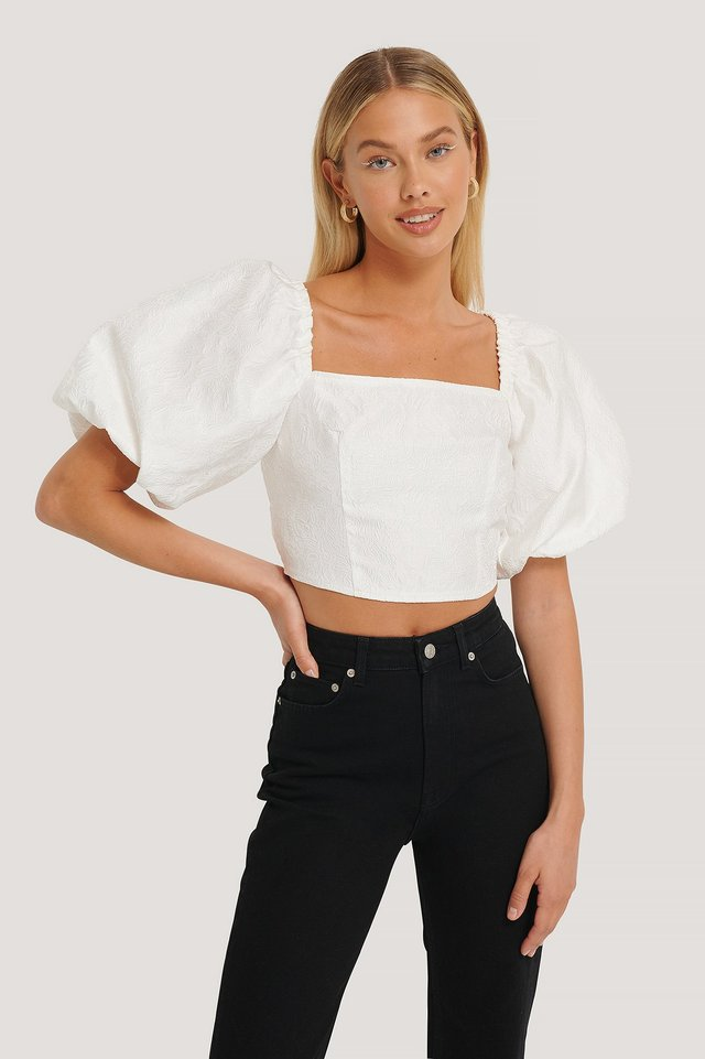 Open Back Puff Sleeve Top White