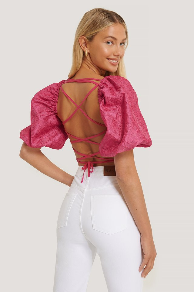 Open Back Puff Sleeve Top Strong Pink