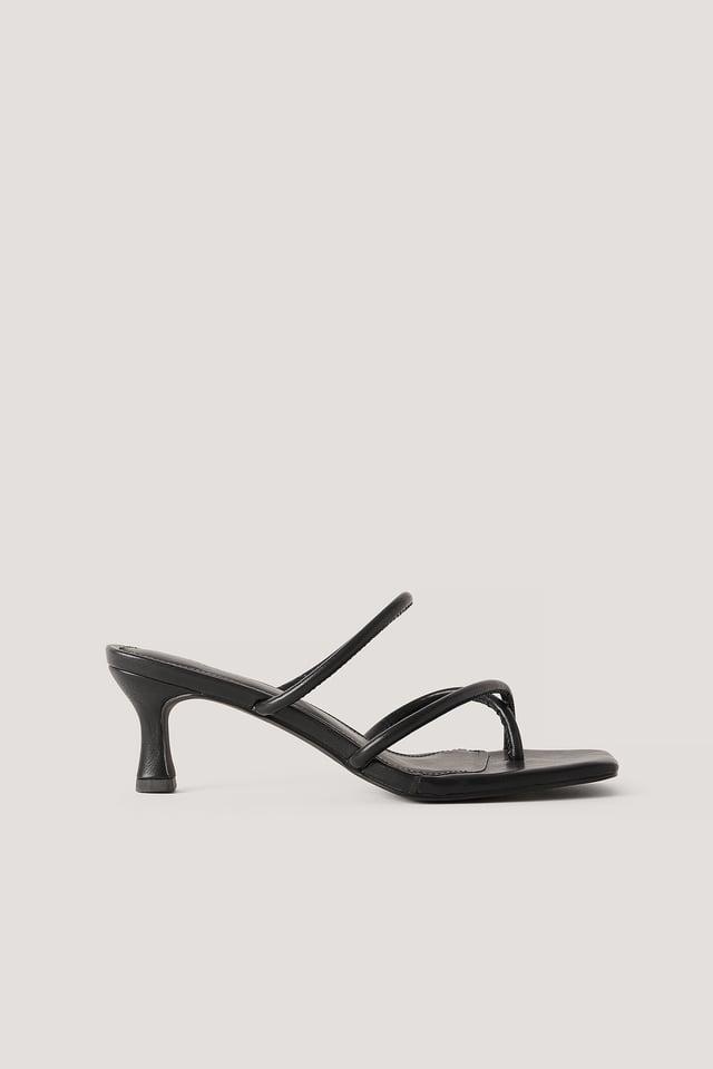Strap Heel Sandal Black