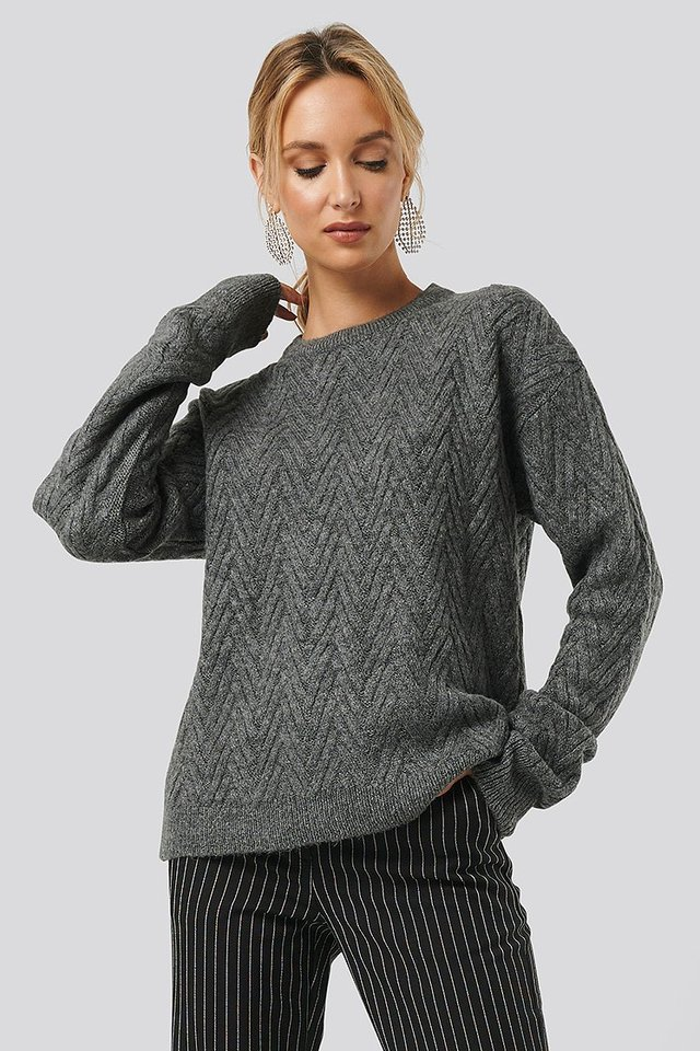 Pattern Knitted Sweater Grey