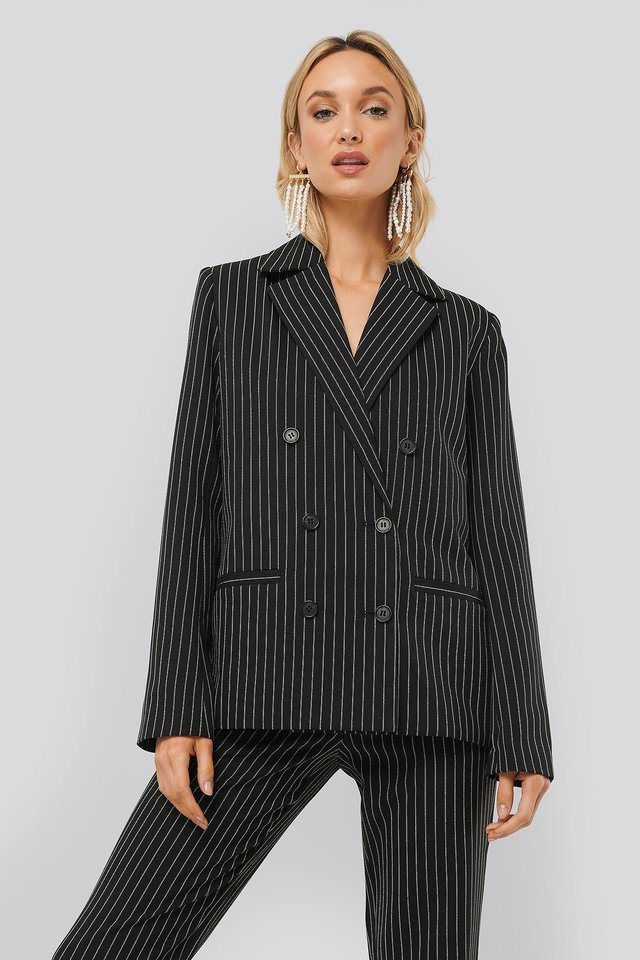 Pinstriped Blazer Black/Stripe