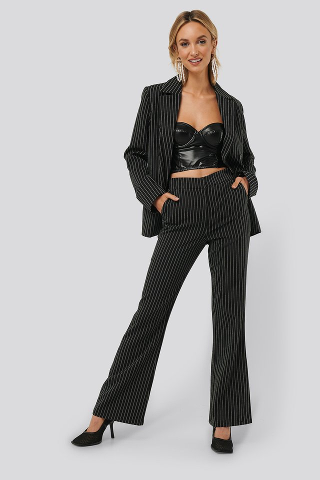 Black/Stripe Pinstriped Flared Suit Pants