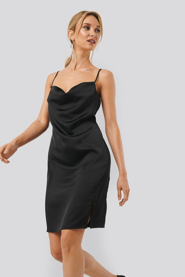 Waterfall Slip Dress Black