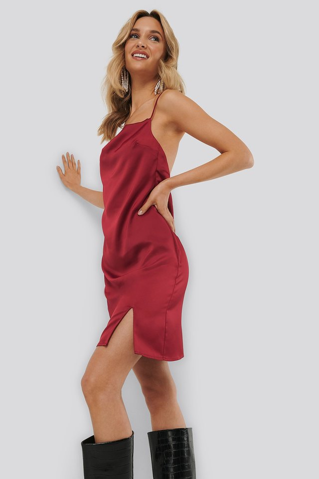 Waterfall Slip Dress Red