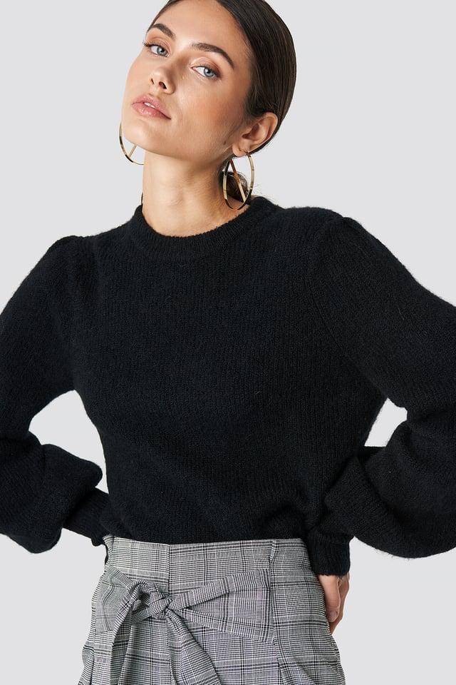 Black Sweter Z Mieszanki Alpaki Z Bufiastymi Rękawami