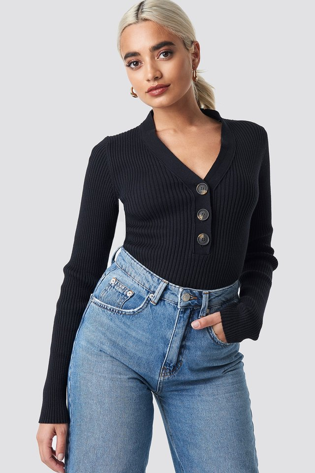 Button Up Knitted Sweater Black