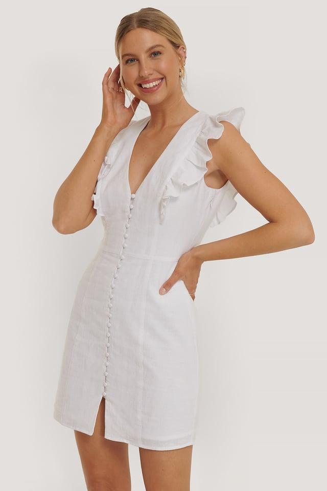 White Flounce Front Button Mini Dress