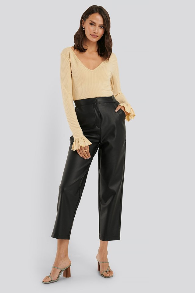 Black Loose Fit PU Pants