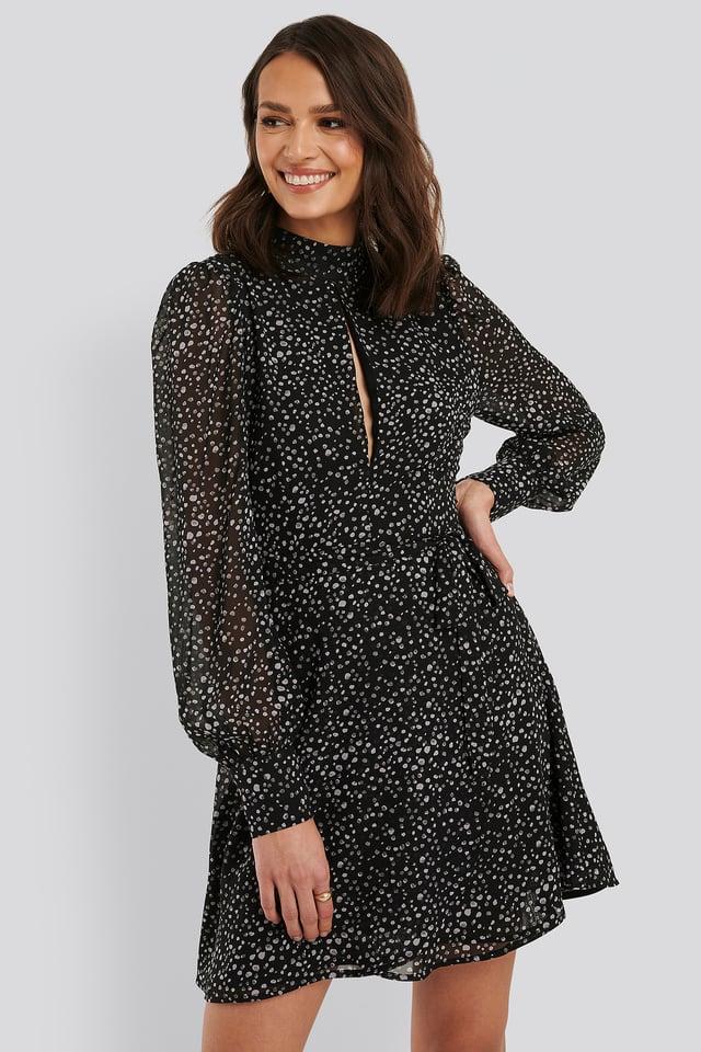 Vorne Offenes Kleid Grey/Black