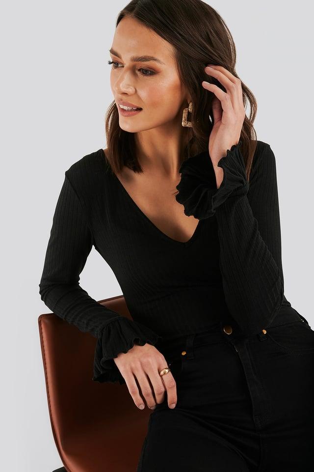 Sleeve Detail Jersey Top Black