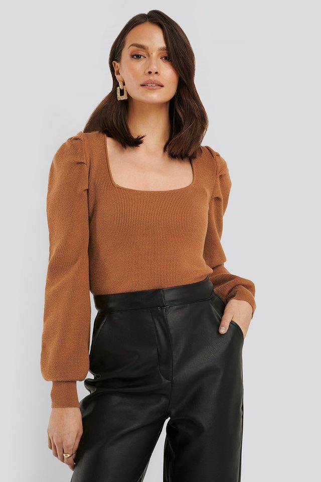 Square Neck Puff Sleeve Knit Rust