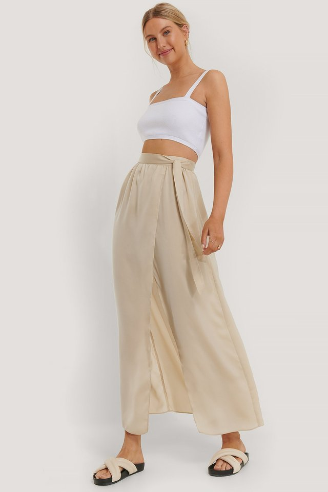 Maxi Satin Skirt Beige