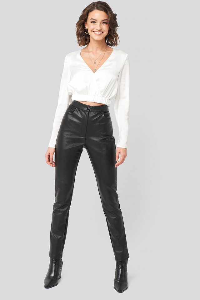 PU-Leather Slim Pants Black