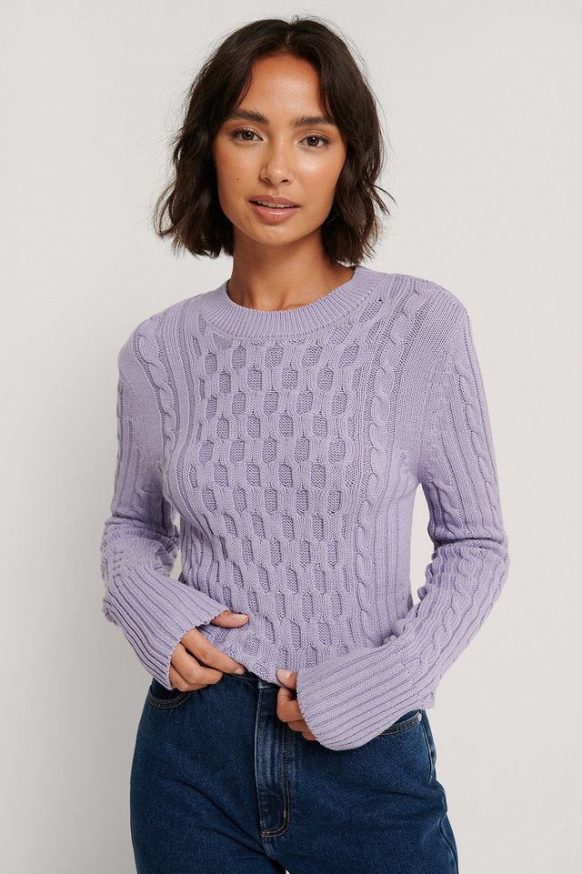 Light Purple Cable Knit Round Neck Sweater